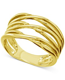 Criss-Cross Open Band Ring in Gold-Plate