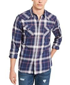 American Rag Men's Plaid Western Shirt, Created For Macy's