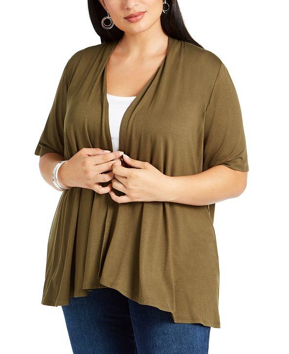 NY Collection Plus Size Short Sleeve Cardigan