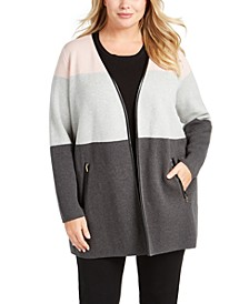 Plus Size Milano Color Blocked Cardigan, Created For Macy's