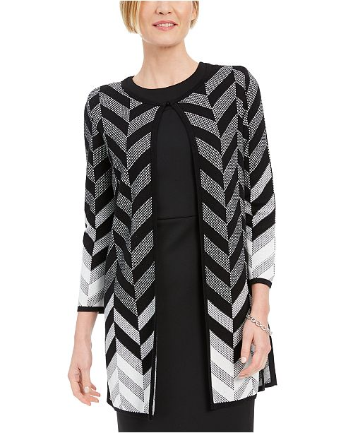Kasper Chevron Cardigan Sweater