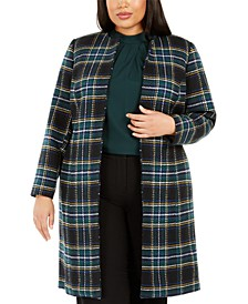 Plus Size Plaid Open-Front Topper Jacket