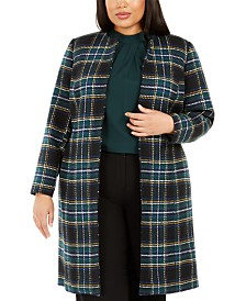 Calvin Klein Plus Size Plaid Open-Front Topper Jacket