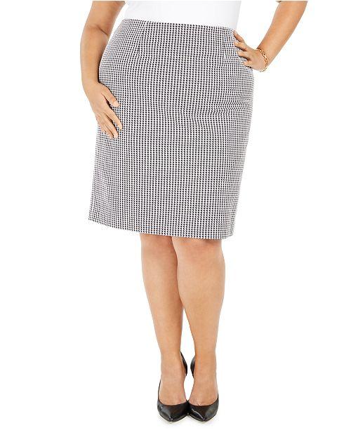 Nine West Plus Size Houndstooth-Print Pencil Skirt