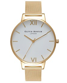 Olivia Burton Women's Gold-Tone Stainless Steel Mesh Bracelet Watch 38mm