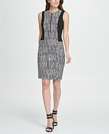 Colorblock Herringbone Zip Sheath Dress