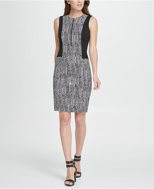 DKNY Colorblock Herringbone Zip Sheath Dress