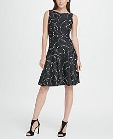 Dot Print Fit  Flare Dress