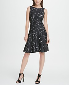 DKNY Dot Print Fit  Flare Dress