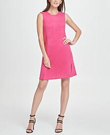 Stretch Faux Suede Zip Pocket Shift Dress