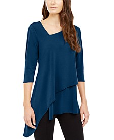 Asymmetrical-Hem 3/4-Sleeve Top, Created for Macy's