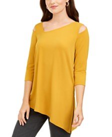 Alfani Cutout-Shoulder Asymmetrical Top, Created for Macy's