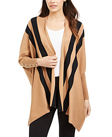 Alfani Striped Open-Front Poncho Cardigan, Created For Macy's