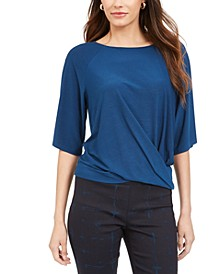Petite Twisted Elbow-Sleeve Top, Created for Macy's