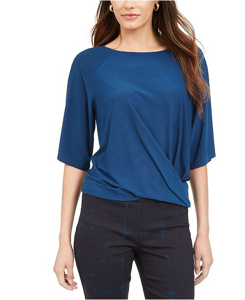 Alfani Petite Twisted Elbow-Sleeve Top, Created for Macy's