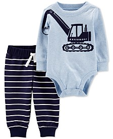 Carter's Baby Boys 2-Pc. Cotton Construction Bodysuit & Jogger Pants Set
