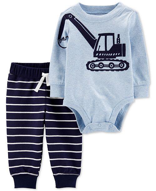Carter's Baby Boys 2-Pc. Cotton Construction Bodysuit & Jogger Pants Set