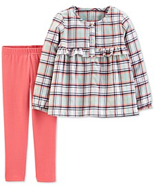 Baby Girls 2-Pc. Plaid Flannel Top & Leggings Set