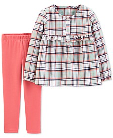 Carter's Baby Girls 2-Pc. Plaid Flannel Top & Leggings Set