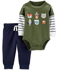 Carter's Baby Boys 2-Pc. Cotton Layered-Look Bodysuit & Jogger Pants Set