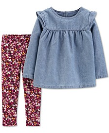 Baby Girls 2-Pc. Chambray Top & Floral-Print Leggings Set