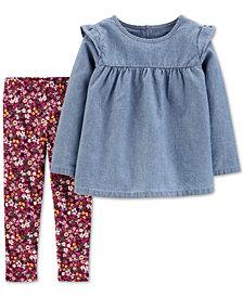 Carter's Baby Girls 2-Pc. Chambray Top & Floral-Print Leggings Set