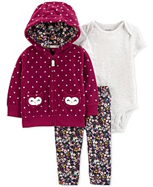 Baby Girls 3-Pc. Fleece Dot-Print Hoodie, Bodysuit & Leggings Set