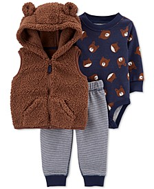 Baby Boys 3-Pc. Bear Sherpa Vest, Printed Bodysuit & Pants Set