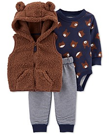 Carter's Baby Boys 3-Pc. Bear Sherpa Vest, Printed Bodysuit & Pants Set