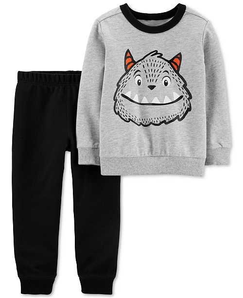 Carter's Baby Boys 2-Pc. Cotton Monster Sweatshirt & Jogger Pants Set