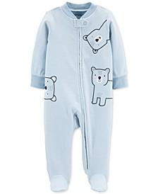 Baby Boys 1-Pc. Footed Bear Sleep and Play