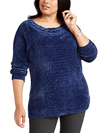 Plus Size Boat-Neck Chenille Sweater, Created for Macy's