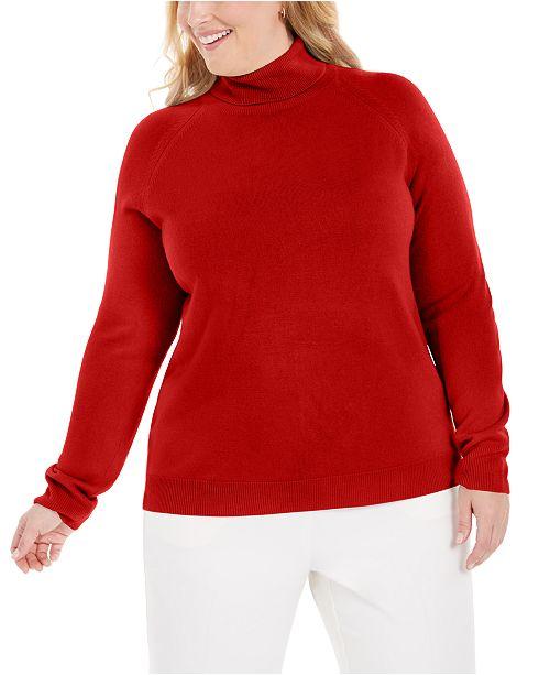Karen Scott Plus Size Turtleneck Luxsoft Sweater, Created for Macy's