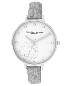 Christian Siriano Women's Analog Silver-Tone Stainless Steel Glitter Strap Watch 38mm