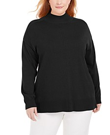 Plus Size Cotton Mock-Neck Sweater, Created for Macy's