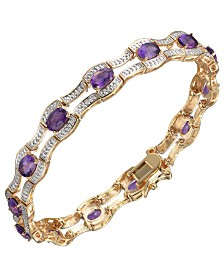 Prime Art & Jewel 18K Gold Over Sterling Silver African Amethyst with Diamond Accent Bracelet