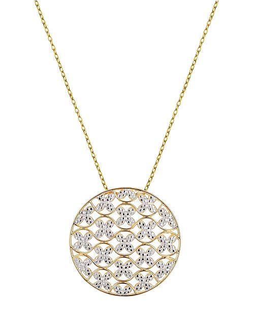 PRIME ART & JEWEL Circle Design Necklace in 18K Gold Over Sterling Silver