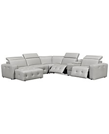 Haigan 6-Pc. Leather Chaise Sectional Sofa with 2 Power Recliners, Created for Macy's