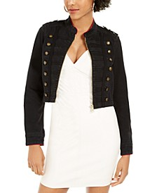 Vassa Button-Accent Cropped Jacket