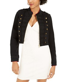 GUESS Vassa Button-Accent Cropped Jacket