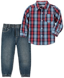Kids Headquarters Baby Boys 2-Pc. Plaid Shirt & Denim Jogger Pants Set