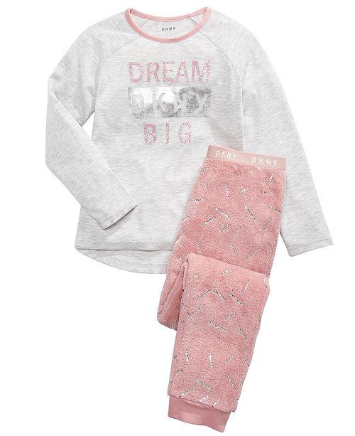 DKNY Big Girls 2-Pc. Fleece Pajamas Set
