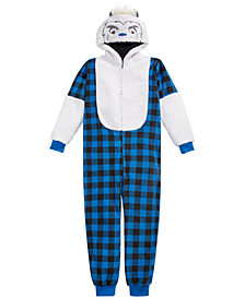 Max & Olivia Big Boys 1-Pc. Hooded Yeti Buffalo-Check Pajamas With Faux-Sherpa Trim, Created For Macy's