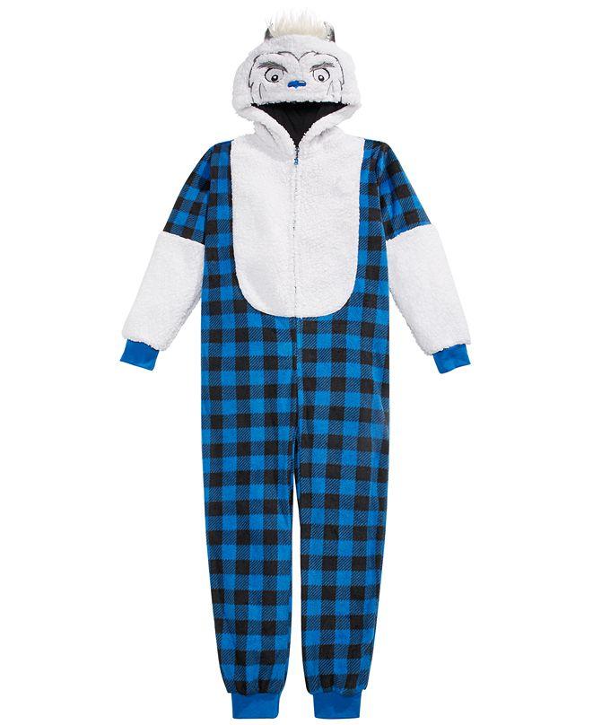 Max & Olivia Big Boys 1-Pc. Hooded Yeti Buffalo-Check Pajamas With Faux-Sherpa Trim, Created for Macy's