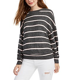 Juniors' Cozy Striped Dolman-Sleeve Top