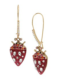 Strawberry Beetle Long Drop Earrings