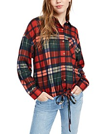 Juniors' Plaid Drawstring-Hem Shirt