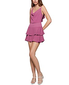 Tiered Cowlneck Mini Dress
