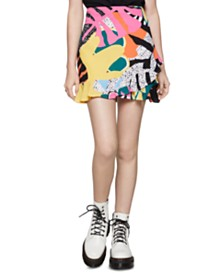 BCBGeneration Printed Ruffled Mini Skirt