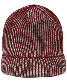 BOSS Men's Ebalerio Knitted Two-Tone Virgin Wool Beanie Hat